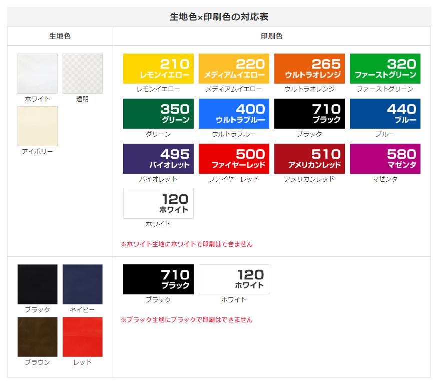 生地色と印刷色の組み合わせ