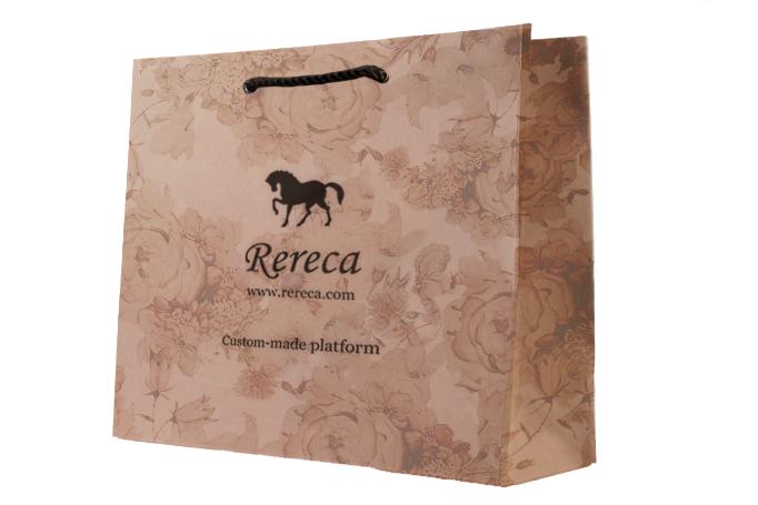 紙袋パターン 茶色クラフト 花柄