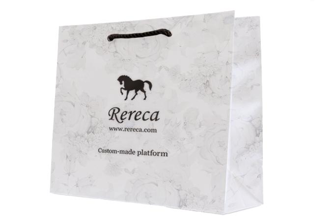 紙袋パターン 白黒 花柄